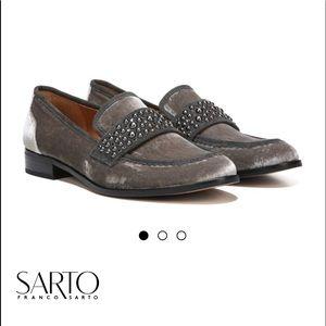 NWT Franco Sarto Johanna Loafer Gray Velvet shoes